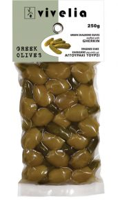 green Chalkidiki stuffed olives with gherkin