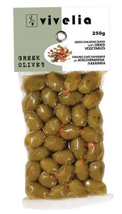 green Chalkidiki olives with dried vegetables
