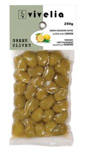 green Chalkidiki stuffed olives with lemon