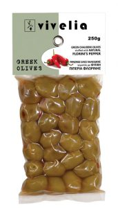 Chalkidiki Green Stuffed Olives with Red Roasted Peppers (Florinis)