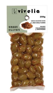 green Chalkidiki olives with red chilli flakes
