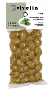 green Chalkidiki olives with oregano